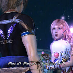 Mog being held by Serah while she talks to Noel.