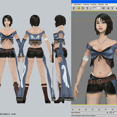 Collage of front, back and side view, plus 3ds Max 4.