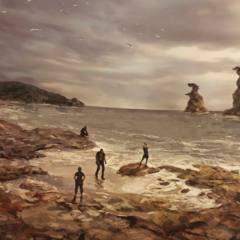 Noctis and the party on the coast.