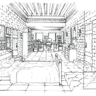 Concept art of a bedroom and study.
