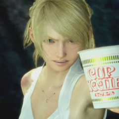 Advertisement with a <i>Final Fantasy XV</i> game scene altered to show Luna holding Cup Noodles.