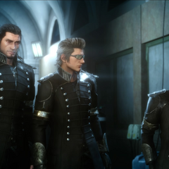 Noctis's friends wear Kingsglaive uniforms.