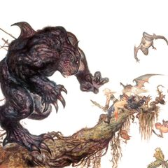 Artwork of Zidane battling a monster, by Yoshitaka Amano.