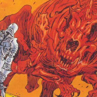 Benjamin confronts Flamerus Rex (American artwork).