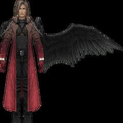 Modelo se degradando em <i>Crisis Core -Final Fantasy VII-</i>.
