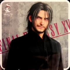 Рекламные бирдекели с повзрослевшим Ноктисом в Square Enix Cafe.