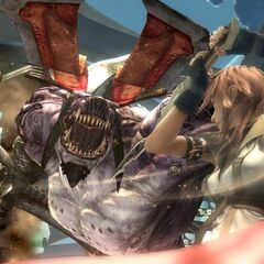 Lightning fights a Behemoth King in Eden.