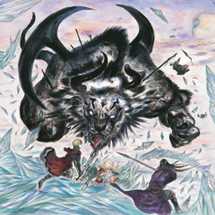 Artwork of Rain, Lasswell and Fina facing Behemoth K by Yoshitaka Amano.