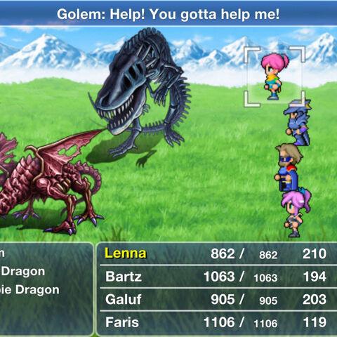 Golem in battle.