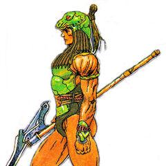 Arte de Kain na Nintendo Power feita por Katsuya Terada.