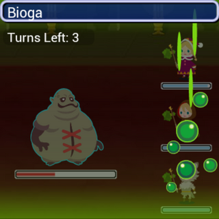 Bioga in battle.