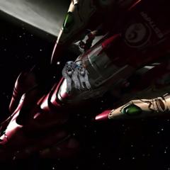 Squall and Rinoa approach the <i>Ragnarok</i>.