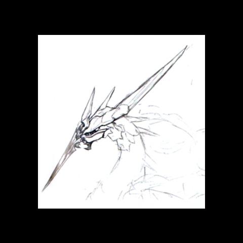 Concept art of Bahamut ZERO's face.