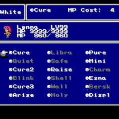 The White Magic menu in the SNES version.