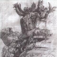 Concept art of Midgar 500 years later from <i>Final Fantasy VII</i> by Tetsuya Nomura.