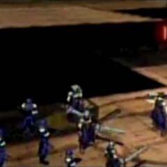 Zack e tropas de SOLDIER em <i>Before Crisis</i>.