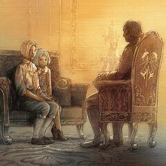 Arciela e Ygnas jovens na presença de seu pai.