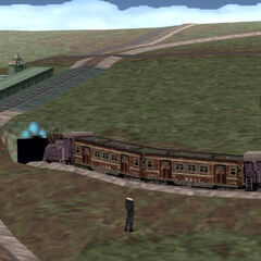 Train on railroad tracks.