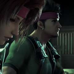Biggs with Jessie in the <i>Final Fantasy VII</i> remake trailer.
