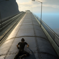 Noctis on top of the train.