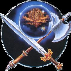 Fortaleza Voadora dentro de um globo na arte de capa oficial da versão para Nintendo, modificada a partir do conceito original por Yoshitaka Amano.
