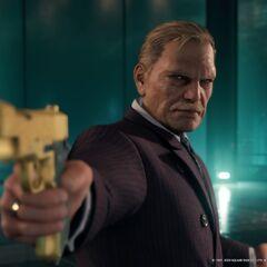 President Shinra holding Barret at gun point.
