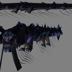 Model of the purple dragon that flies by in the Vallis Media.
