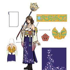 Diagrama do traje de invocadora de Yuna.