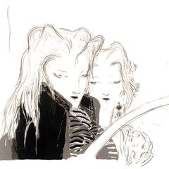 Арт с изображением Аэрис и Сефирота работы Ёситаки Амано.