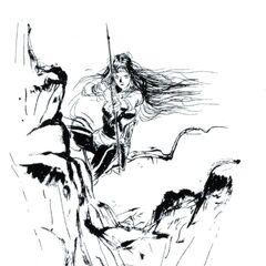 Arte de Maria por Amano para o <i>Final Fantasy II Muma no Meikyū</i>.