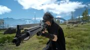 Noctis with Cerberus sniper rifle in FFXV