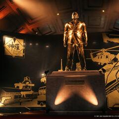 Golden statue of the president.
