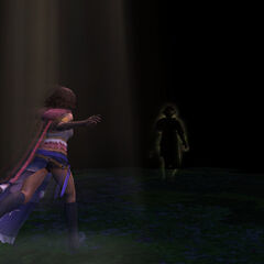 Tidus's spirit leads Yuna out of the Farplane