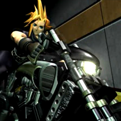 Клауд на мотоцикле в FMV из <i>Final Fantasy VII</i>.