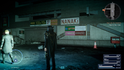 Nanaki and Morrids Coffee signs in Insomnia in FFXV