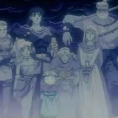 Lenna (woman in the front row) and the cast of <i>Final Fantasy V</i> as they appear in <i><a href=