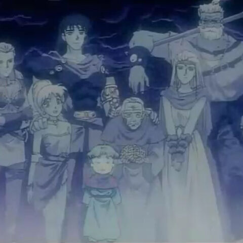 The main cast of <i>Final Fantasy V</i> as they appear in the anime. From left to right: <a href=