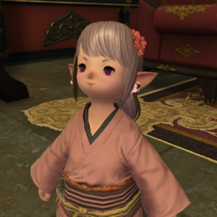 Tataru in a yukata in <i>Final Fantasy XIV: Stormblood</i>.