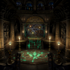The mirror room in Ipsen's Castle has the emblem on the floor.