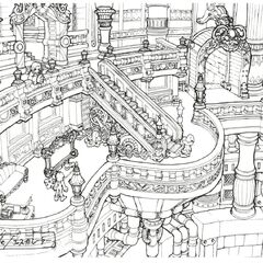 Castle hallway concept art.