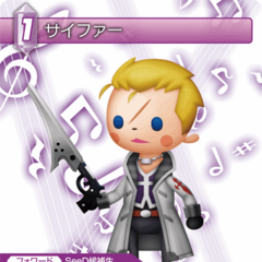 TCG card featuring his <i>Theatrhythm</i> art.