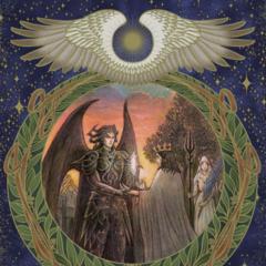 Иллюстрация Космогонии, где Астралы поручают первому королю Люциса охранять Кристалл.