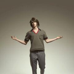 Noel com uma roupa do <i>Prada 2012 Men's Spring/Summer Collection</i>.