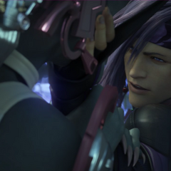 Caius holding Nix by her jaw.