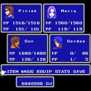 Menu in the NES version.