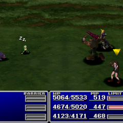 Barret using an item on an enemy.