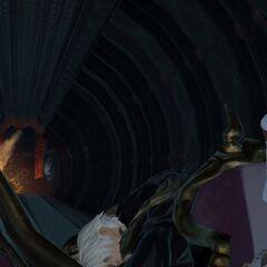 O Aventureiro e Thancred fugindo numa Magitek.