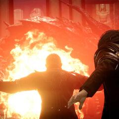 Кор прикрывает Ноктиса в добавленной сцене <i>Royal</i> издания.