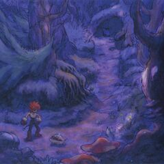 Concept art of a character and a creature in the Evil Forest.