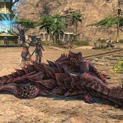 Um drake caçado por Miqo'tes em <i>Forgotten Spring</i>, Thanalan.